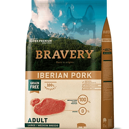 Alimento.  Bravery Iberian Pork Adult L/M (4kg) para perros.