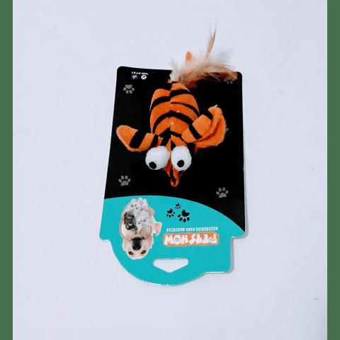 Juguete para gato, ratón estampado de cebra y plumas