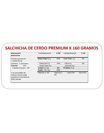 SALCHICHA PREMIUM x 160 GR