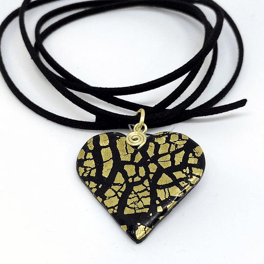 Collar Romy Art negro con chispas doradas