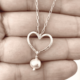 Collar corazón de plata