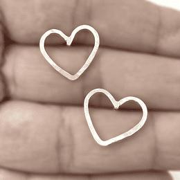 Aro corazón plata martillada