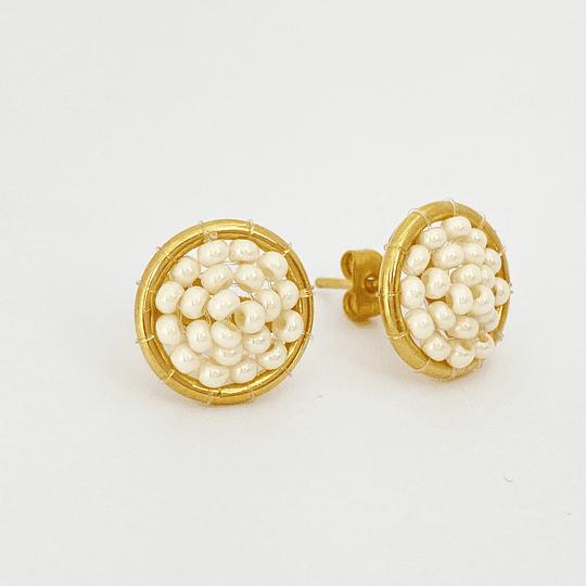 Aros tejidos con perlas