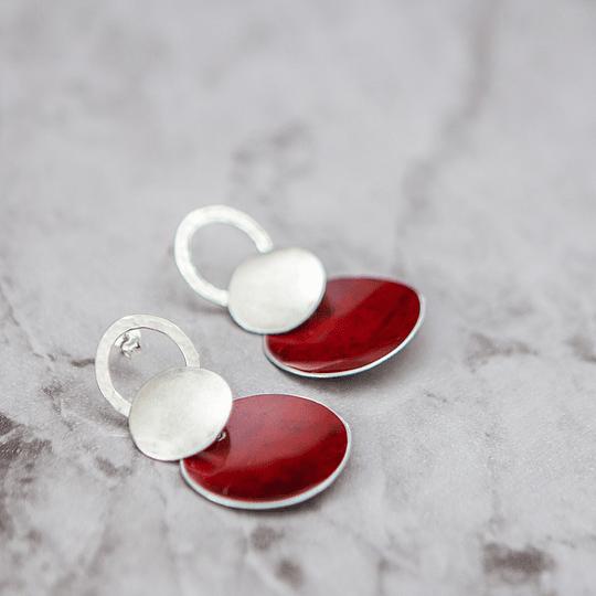 Aros de plata pétalo rojo