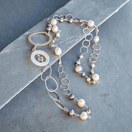 Collar plata y perlas grises