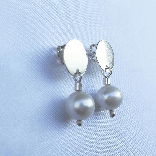Aro disco de plata y perla