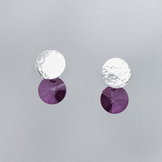 Aros redondos plata y cristal