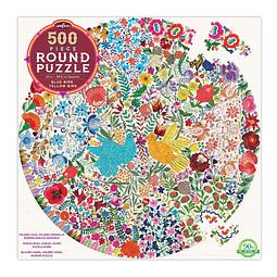 Pájaro Azul y Pájaro Amarillo | Puzzle Eeboo Redondo 500 Piezas