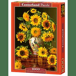 Girasoles en florero de pavo real | Puzzle Castorland 1000 Piezas