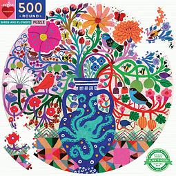 Pájaros y flores | Puzzle Eeboo 500 Piezas