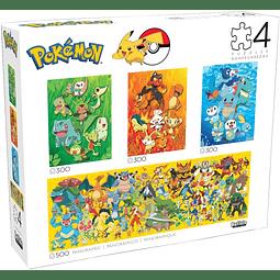 Pokémon Multipack 4 en 1 | Puzzle Buffalo 300 y 500 Piezas