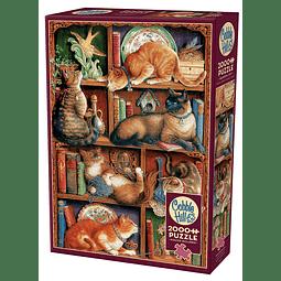 Feline Bookcase | Puzzle Cobble Hill 2000 Piezas