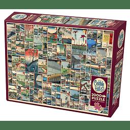 100 Famous Views Of Edo | Puzzle Cobble Hill 2000 Piezas