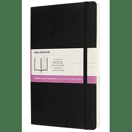 Cuaderno Doble Diseño / Grande / Negro / Tapa Blanda
