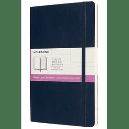 Cuaderno Doble Diseño / Grande / Azul Zafiro / Tapa Blanda