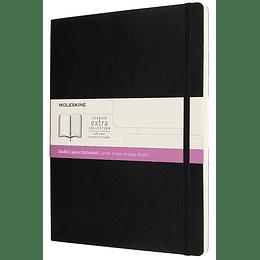 Cuaderno Doble Diseño / Xl / Negro / Tapa Blanda