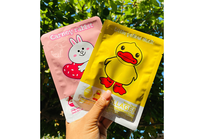 ✨ PAQ 12 PZ MASCARILLA DE COLÁGENO CARTOON ANIMAL 🐻🐥🐰