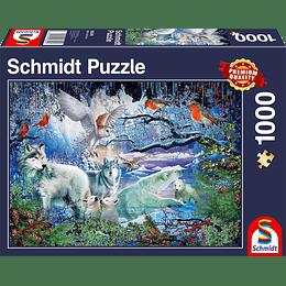 Puzzle Lobos En Invierno 1000 Piezas