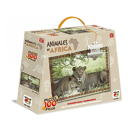 Puzzle Animales De Africa 100 Piezas Leon