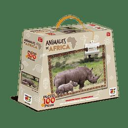 Puzzle Animales De Africa 100 Piezas Rinoceronte