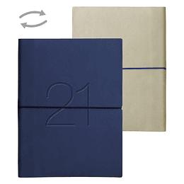 Agenda Ecocuero Bicolor Semanal Cuaderno 2021 Azul