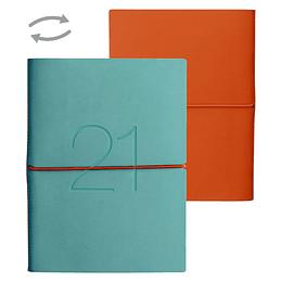 Agenda Ecocuero Bicolor Semanal Cuaderno 2021 Celeste