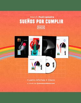 Pack Pedropiedra Sueños x Cumplir: Cuatro afiches + Disco Aló. (Disponible solo para México)