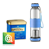 Pack Twinings Té Negro Lady Grey + Sling Glass Botella de Vidrio Celeste