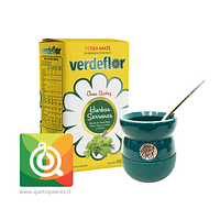 Pack VerdeFlor Yerba Mate + Matero y Bombilla Azul
