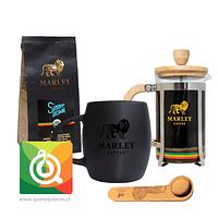 Pack Marley Coffee Tazon + Prensa 350 ml + Cuchara + Café Simmer Down