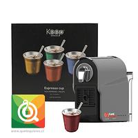 Café Caribe Máquina para Capsulas + Keep Set de Tazas Acero Inoxidable