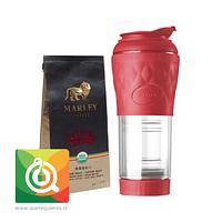 Pack Pressca Cafetera Portatil Rojo + Marley Coffee Café One love