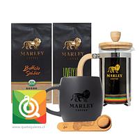 Pack Marley Coffee Tazón + Prensa 350 ml  + Cuchara + Cafés Lively Up - Buffalo Soldier