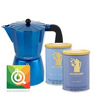 Pack Hausbrandt Cafés Grano Molido + Oroley Cafetera Italiana Blue