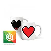 Kikkerland Mug Té y Hierbas Diseño Corazón Cambia de Color - Mug Pixel Heart