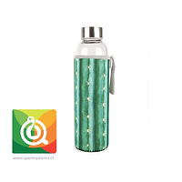 Kikkerland Botella de Vidrio con funda Diseño Cactus - Glass Bottle + Sleeve