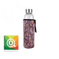 Kikkerland Botella de Vidrio con funda Diseño Corteza - Glass Bottle + Sleeve