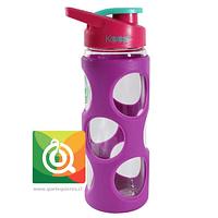 Keep Botella de Agua Vidrio con funda Plástica Morada
