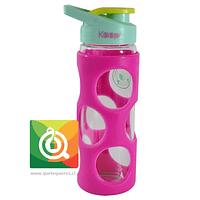 Keep Botella de Agua Vidrio con funda Plástica Fucsia