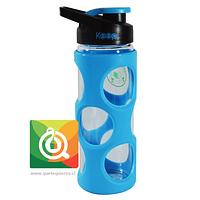 Keep Botella de Agua Vidrio con funda Plástica Celeste