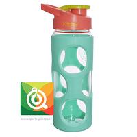 Keep Botella de Agua Vidrio con funda Plástica Verde Agua