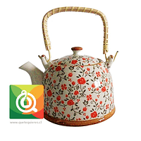 QTQ Tetera Mango Bambu 750 ml Diseño Florcita Nara