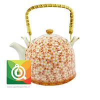 QTQ Tetera Mango Bambu 750 ml Rosada Flores