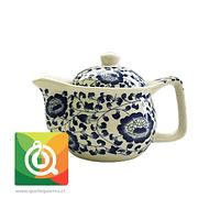 Tetera para té pequeña - Blanca Flores Azules