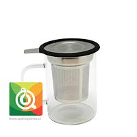 Glasso Mug de Vidrio con Infusor Acero 450 ml Negra