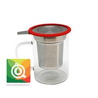 Glasso Mug de Vidrio con Infusor Acero 450 ml Rojo
