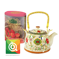 Tetera Loza + Lata de Té Strawberry Cream Ahmad
