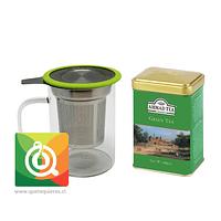 Mug Infusor Vidrio + Lata Té Verde Ahmad