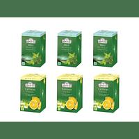Ahmad Té Verde Menta y Té Verde Limón Pack 6