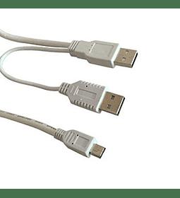 CABLE USB MICRO A USB X2 MACHO HDD